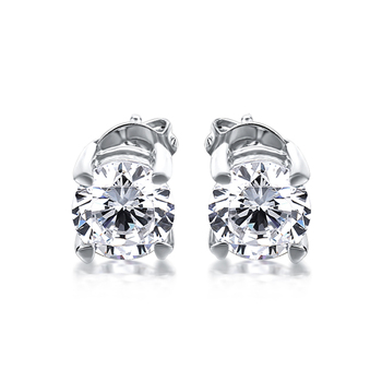 CHEESTAR JEWELS Fine jewelry 925 silver earrings stud earrings with round 6.0mm cubic zirconia stones new arrivals
