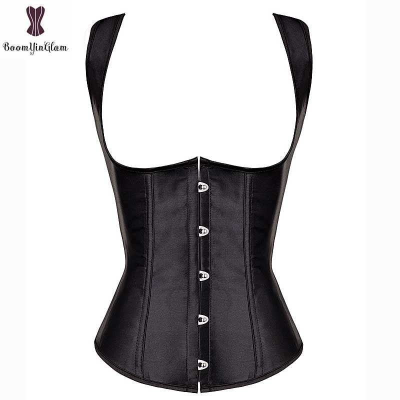 Cheap Price Wholesale slimming waist shaper plus size satin vest   bustier   spiral steel boned Underbust   corset   Tank With G-string