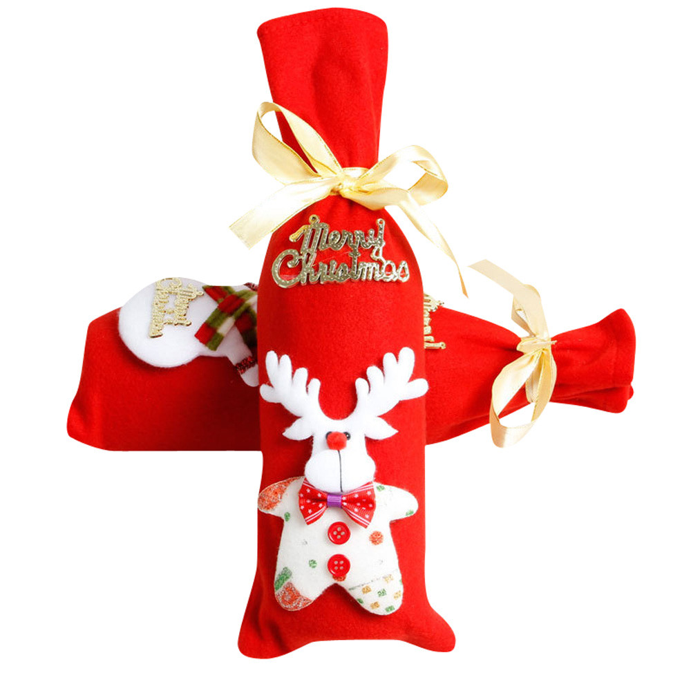 Christmas red wine bottle cover gift bags new year 2018 for New home christmas decoration