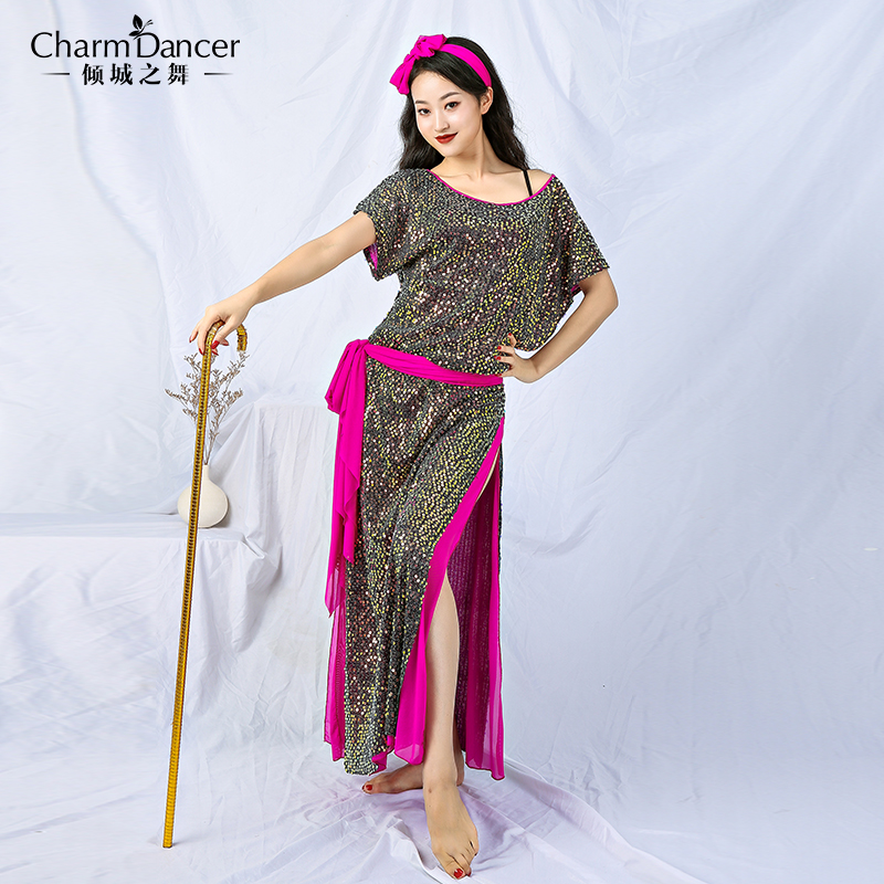 New Woman Luxury Sequins Folk Dance Belly Dance Robe Baladi Shaabi Dress  Saidi Performance Dress 4pcs Set ZM252