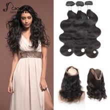 Joedir pelo pre-coloreado Malasia onda del cuerpo del pelo 3 paquetes con 360 Lace Frontal Closure Non Remy extensión del pelo envío gratis