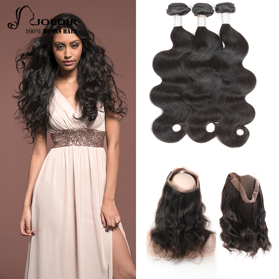 Joedir Hair Pre-Colored Malaysian Body Wave Hair 3 Bundles With 360 Lace Frontal Closure Non Remy Hair Extension Free Shipping