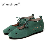 Whensinger - 2017 Summer Woman Flats Fashion Ballet Shoes Polka Dot Cut-Outs Design 2 Colors 931