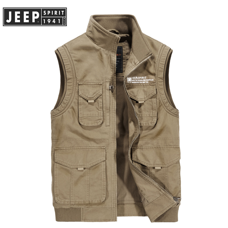 JEEP SPIRIT Spring Autumn Mens Vest Casual Cotton Sleeveless Jacket Men Coat Stand Collar Vest Male With Many Pockets Plus M-4XL