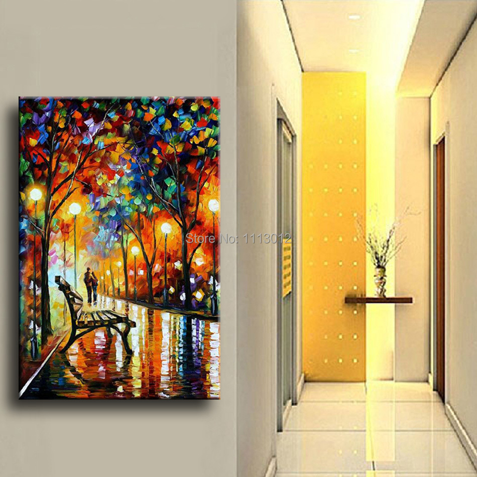 Modern Colorful Tree Park Night Street Knife Landscape Oil Painting ...