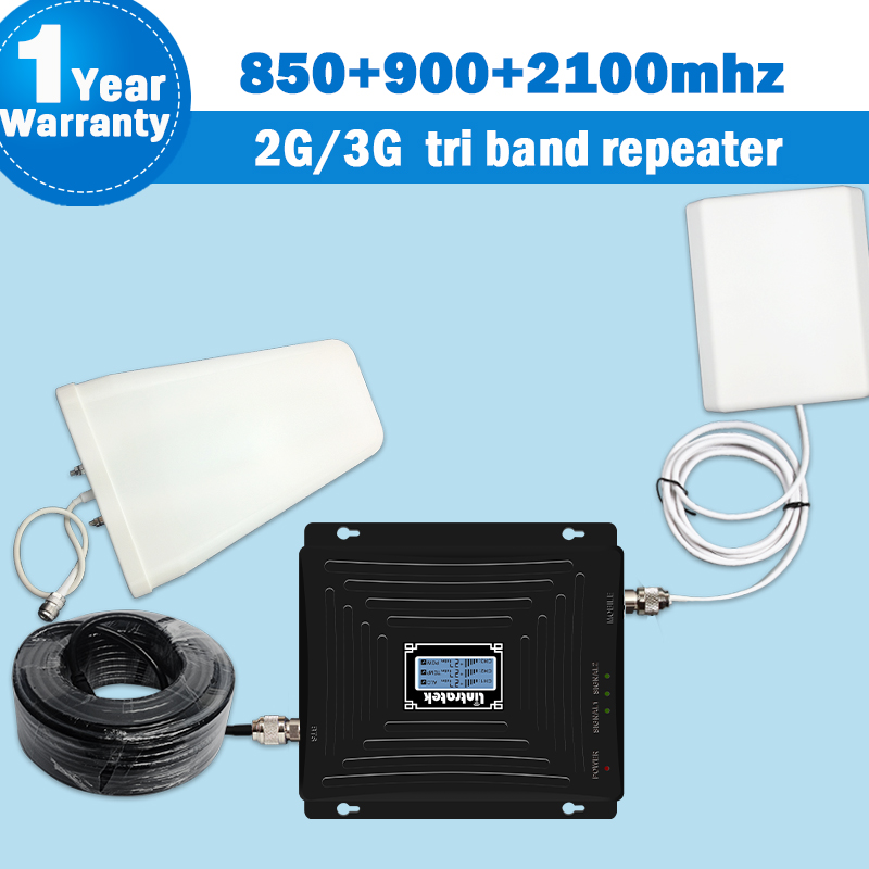 Lintratek Mobile Signal Amplifier Network 850/900/2100 2G 3G Cellular Booster ALC Display Repeater GSM 900mhz Kit Antenna 4G S36