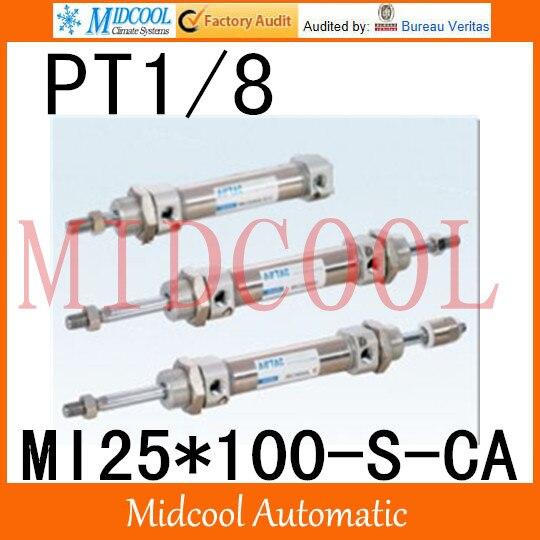MI série ISO6432 Mini cylindre en acier inoxydable MI25 * 100-S-CA alésage 25mm port PT1/8