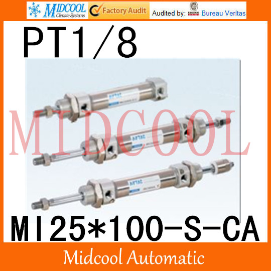MI Series ISO6432 Stainless Steel Mini Cylinder  MI25*100-S-CA  bore 25mm port PT1/8 купить в екатеринбурге переходник mini iso