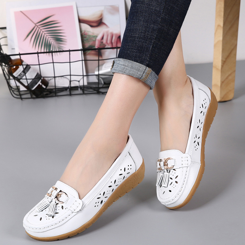 Summer Leather Women's Shoes Moccasins Platform Shoes Soft Boat Shoes Fashion Cutout Flats Casual Low Heel Nurse Shoes image