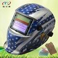 Auto Verdunkelung Schweißhelm Maske PP material fokus solar batterie schweißmaske mit handschuhe glas vollautomatische HD74 (2200DE) GY-in Schweißhelme aus Werkzeug bei