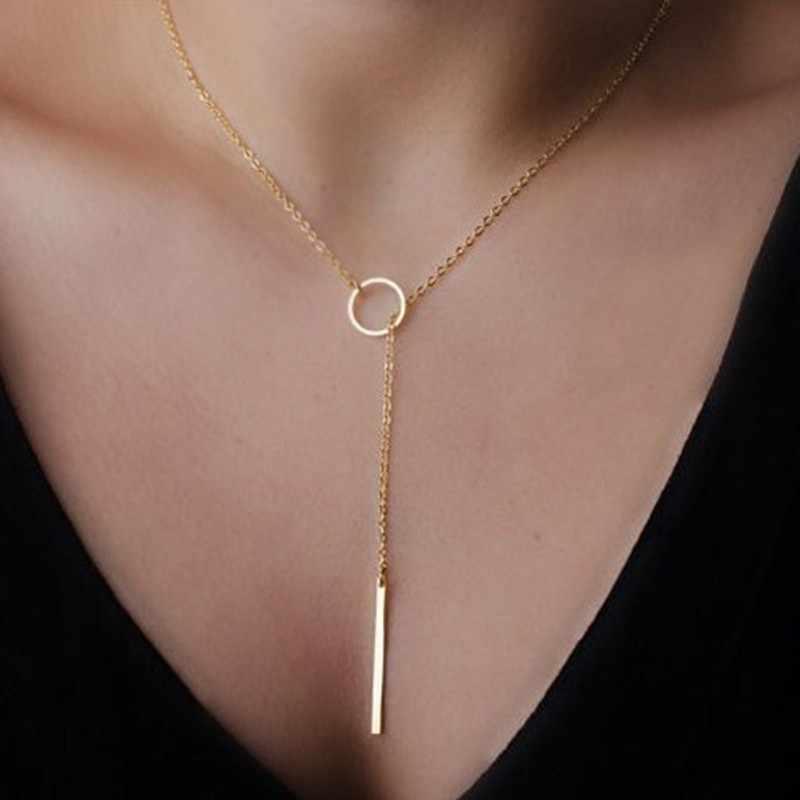 N547 Dainty or couleur colliers pendentifs minimaliste Simple collier cercle avec barre Long collier bijoux livraison directe