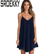 Summer Dress 2017 Fashion Sexy Sleeveless Spaghetti Strap Women Robe V-Neck Casual Chiffon Party Dresses Plus Size Beach Vestido(China)
