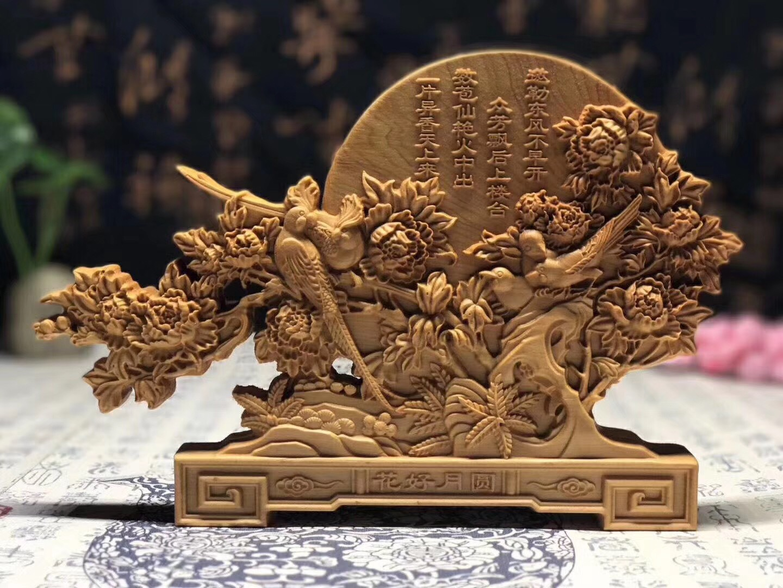 Traditionnel chinois sculpture sur bois Animal perroquet oiseau figurines miniatures cadeau maison bureau décoration décor (A952)