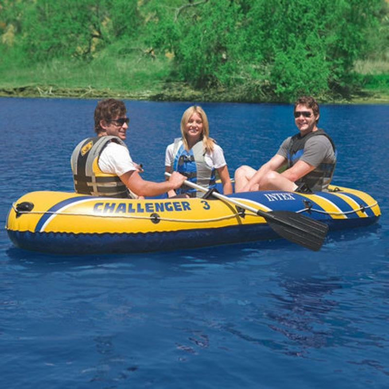 INTEX Bateau à rames Gonflable 3 personnes Bateau de pêche épaissi Bateau Gonflable Kayak de pêche professionnel
