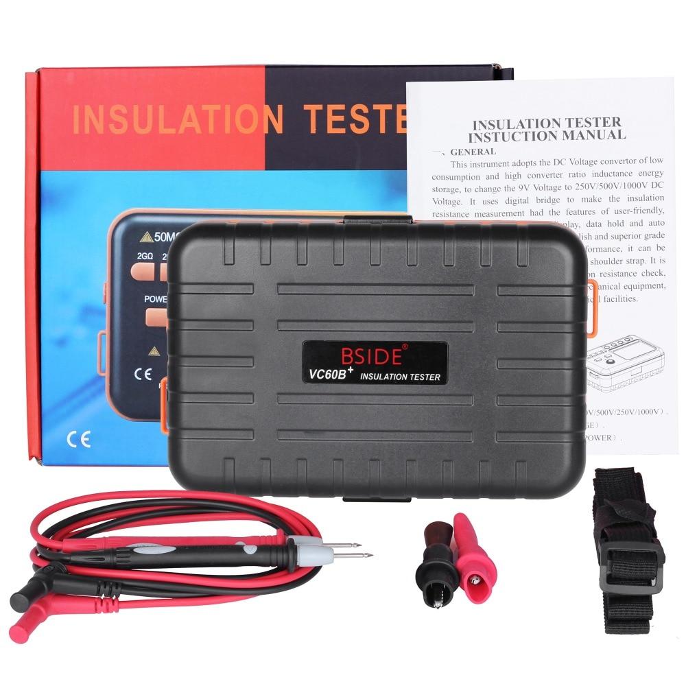 Digital Insulation Resistance Tester BSIDE VC60B 0 1 2000m ohm 250v 500v 1000v Original Insulation Tester
