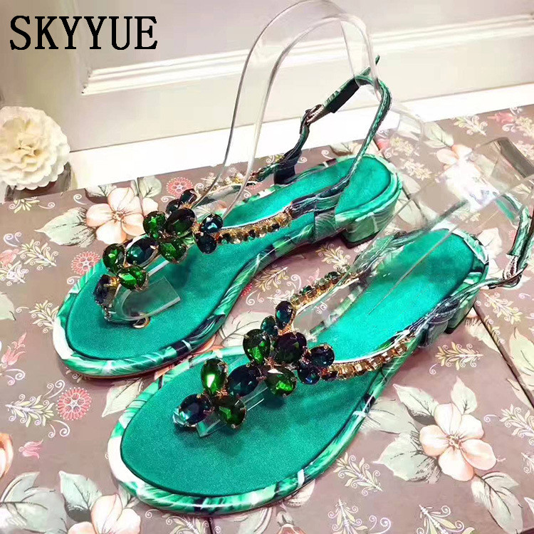 2018 New Genuine Leather Printed Floral Women Summer Sandals Sexy Open Toe Crystal Beading Women Low Heel Sandals Shoes Women new women sandals low heel wedges summer casual single shoes woman sandal fashion soft sandals free shipping