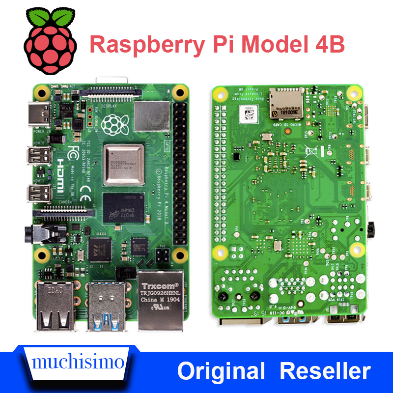 Official Raspberry Pi 4 Model B 4B With 1 / 2 / 4 GB RAM 1.5GHz 2.4/5.0 GHz WIFI Bluetooth5.0 Case Cooling Heatsink Power Supply
