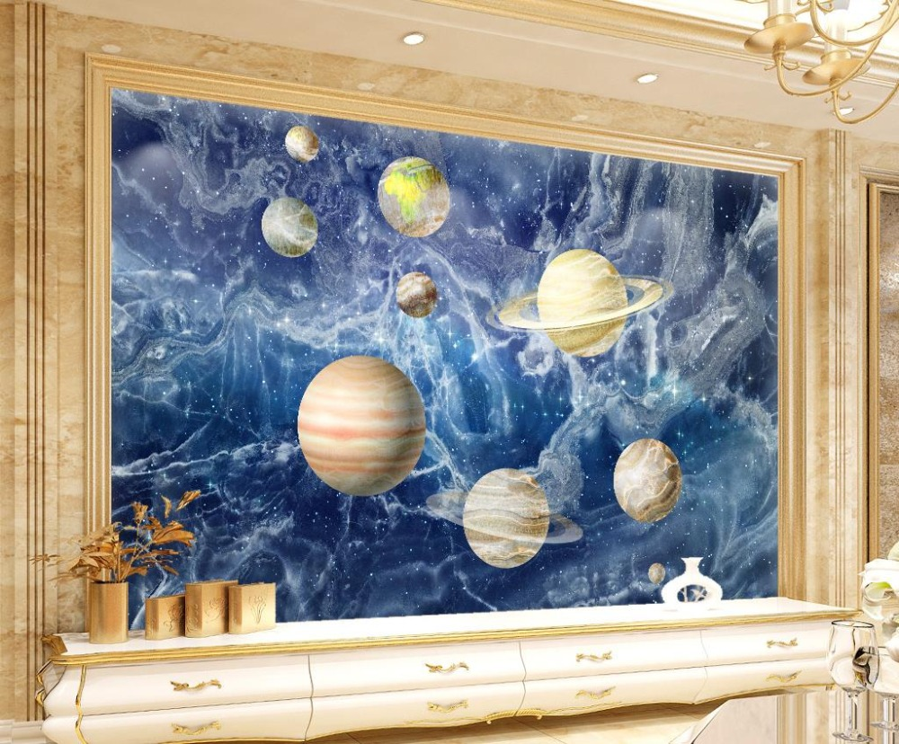 Non woven Space planets wallpaper for walls 3 d photo living room Marble stone background wall non woven bubble butterfly wallpaper design modern pastoral flock 3d circle wall paper for living room background walls 10m roll