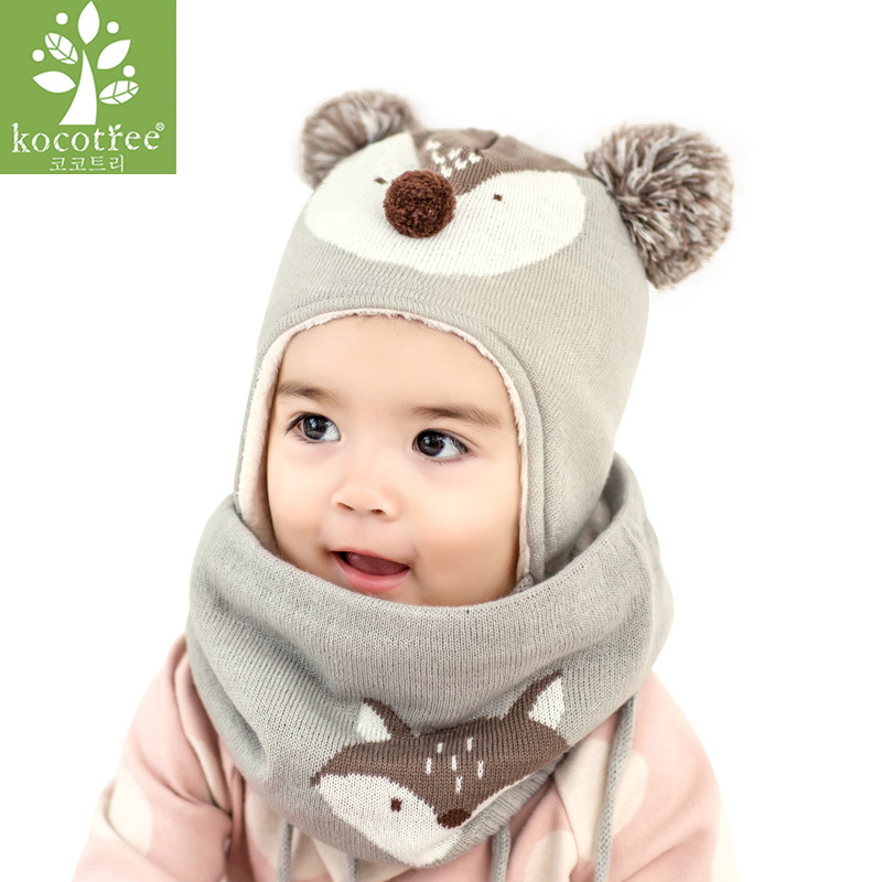 Kocotree 2pcs/lot Children Winter Hat And Scarf Autumn Kids Boys Girls Animal Fox Knitted Cap Skullies Beanies Circle Scarf