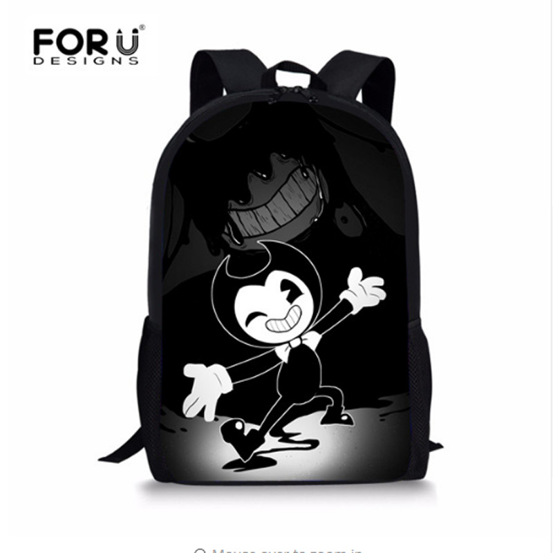 FORUDESIGNS Cartoon Children Kids Game Backpack Bendy and The Ink Machine School Bagpack for Teenage Boys Child School Book Bags