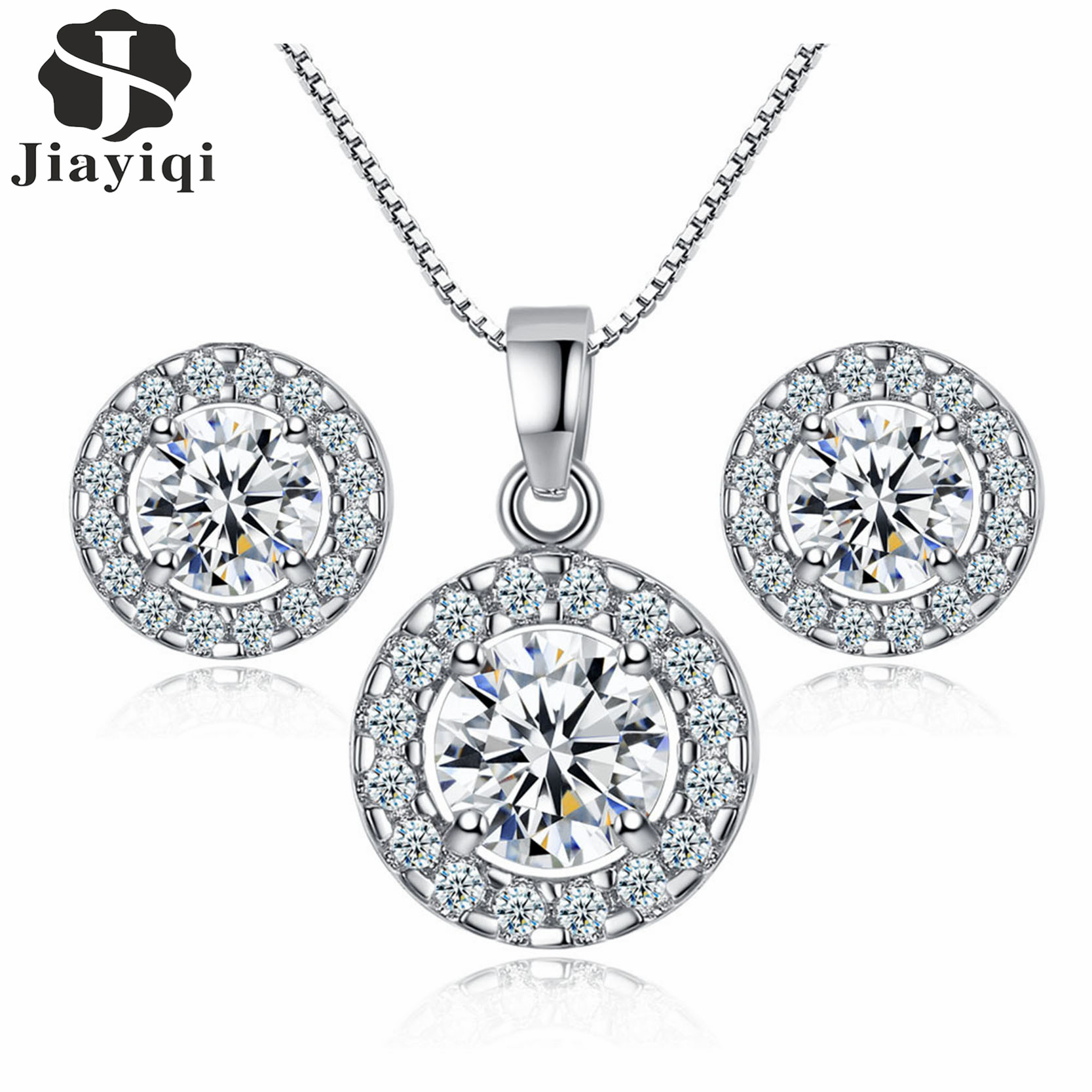 Jiayiqi Hot 2018 Cubic Zirconia Jewelry Set for Women Silver Color Round Style Pendant Necklace/Earrings Sets Valentine's Gift