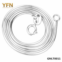 GNLT0011 Genuine 925 Sterling Silver Jewelry Platinum Plated Necklace New S925 Jewelry 1mm Snake Chain Necklace