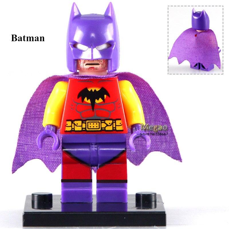 50pcs lot WM202 Purple Helmet Batman DC Super Hero s Cartoon Toys Assemble Building Blocks Kids