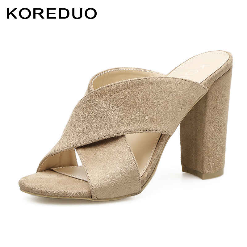 KOREDUO New Rome Summer Shoes Square Heels Mules Slippers