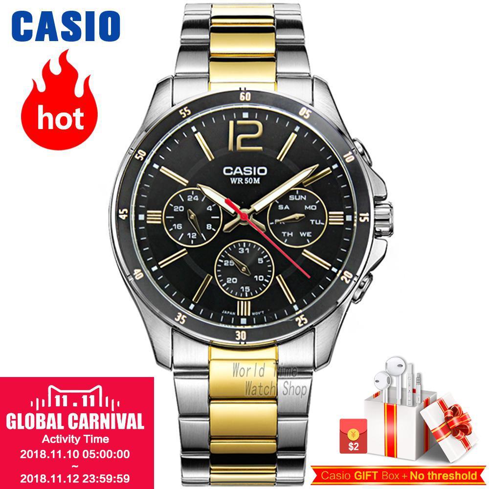CASIO Часы мужские спортивные водонепроницаемые кварцевые световой часы MTP-1374D-7A MTP-1374L-7A MTP-1374SG-1A MTP-1374SG-7A MTP-1374D-1A