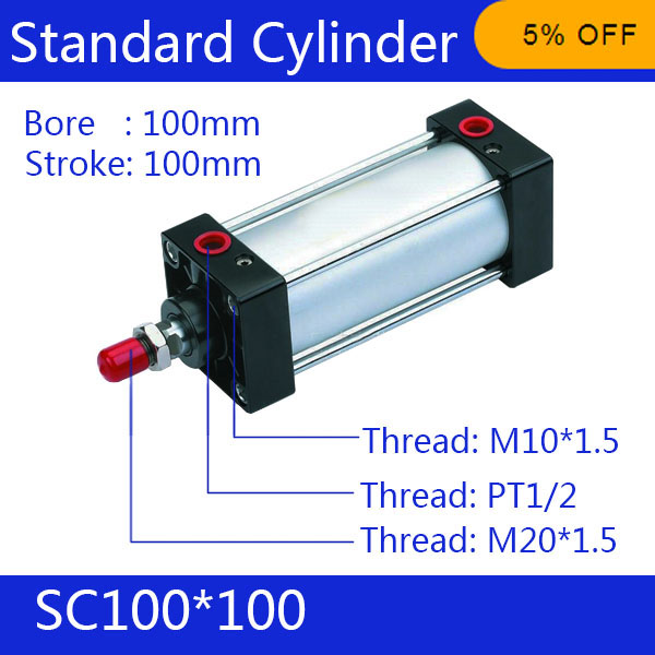 SC100*100 Free shipping Standard air cylinders valve 100mm bore 100mm stroke single rod double acting pneumatic cylinder 100