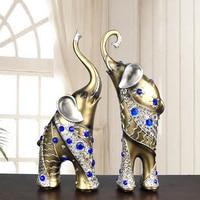Elephant Figurines Home Decoration Accessories Home decor Lucky A Pair Elephant Garden resin miniature ornament Elephant