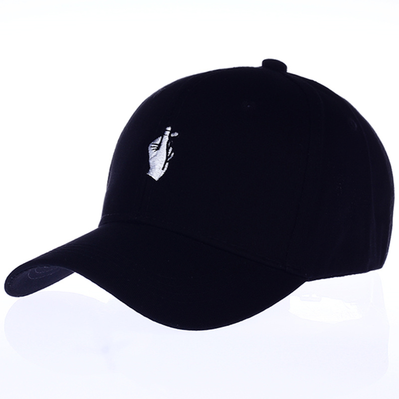 VORON Love Gestures Finger Embroider   Baseball     Cap   Stress Style Creative Korean Little Heart Novelty Cute Women snapback Hats