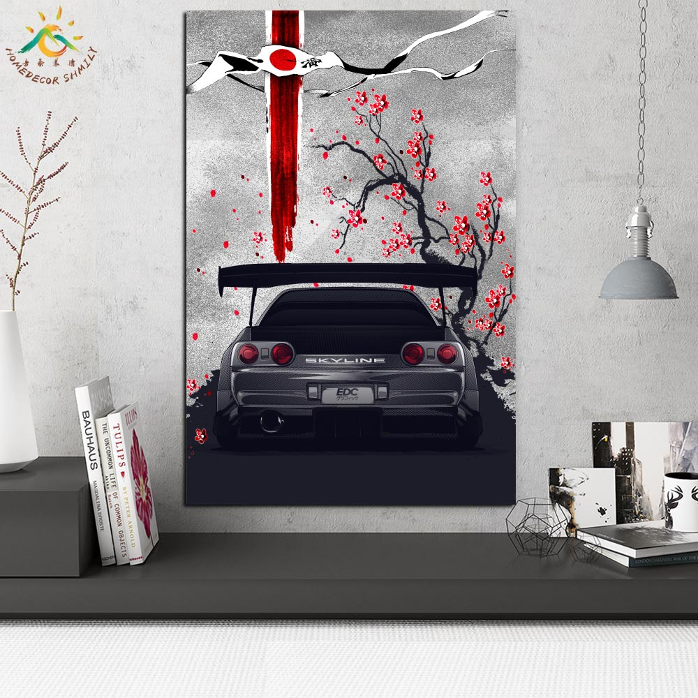 Nissan Skyline Wall Art Canvas Prints Painting Frame Scroll Painting Hanging Poster Decorative Picture Art Print Wall Poster in Painting Calligraphy from Home Garden