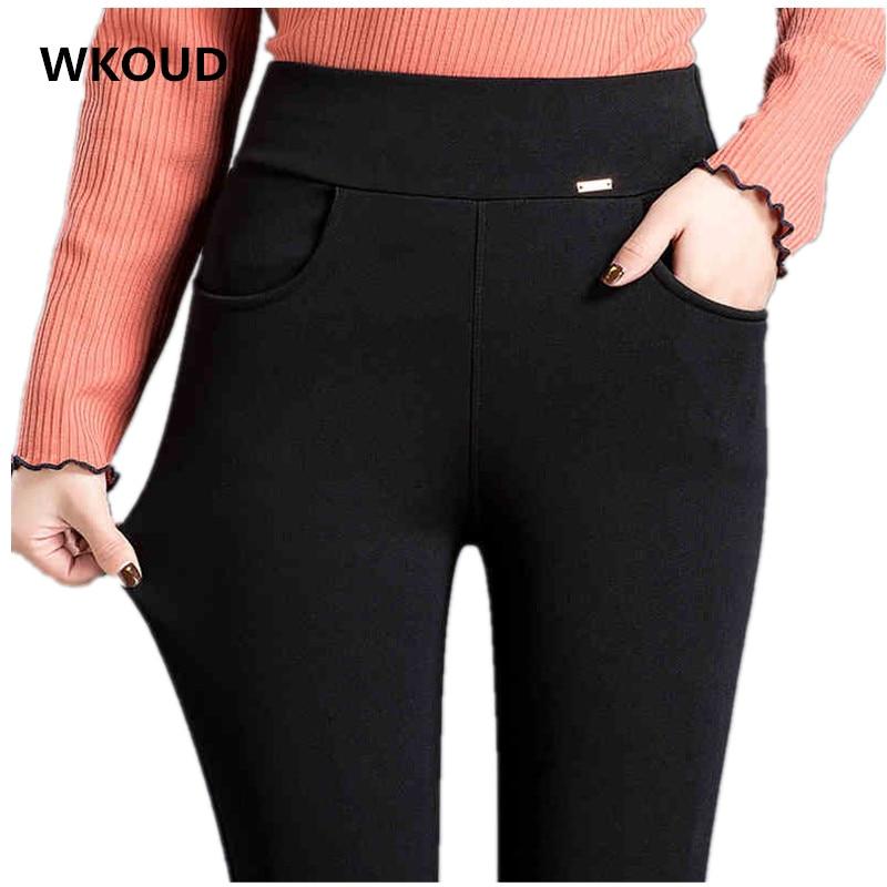WKOUD High Waist   Leggings   For Women Black Solid Skinny Stretch   Leggings   Plus Size Fitness   Legging   Female Spring Fall Pants P8868