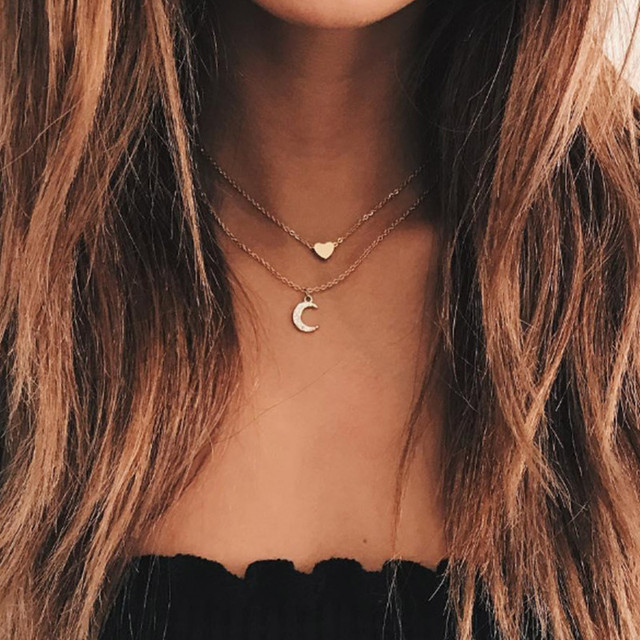 New Fashion Jewelry Cute Moon Heart  Necklace Double layer Necklace Pendants Choker Necklace For Women Wholesale Jewelry  X56