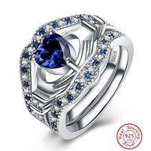 00a1abde7ff4 Nuevo diseño AAA 925 anillos de plata esterlina para mujer anillos de  Claddagh de cristal de corazón cruzado para mujer joyería .