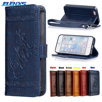 ELENXS Embossing PU Leather Protective Case Covers with Card Slot Holder For iPhone 5/5S/SE 6/6s 7 plus