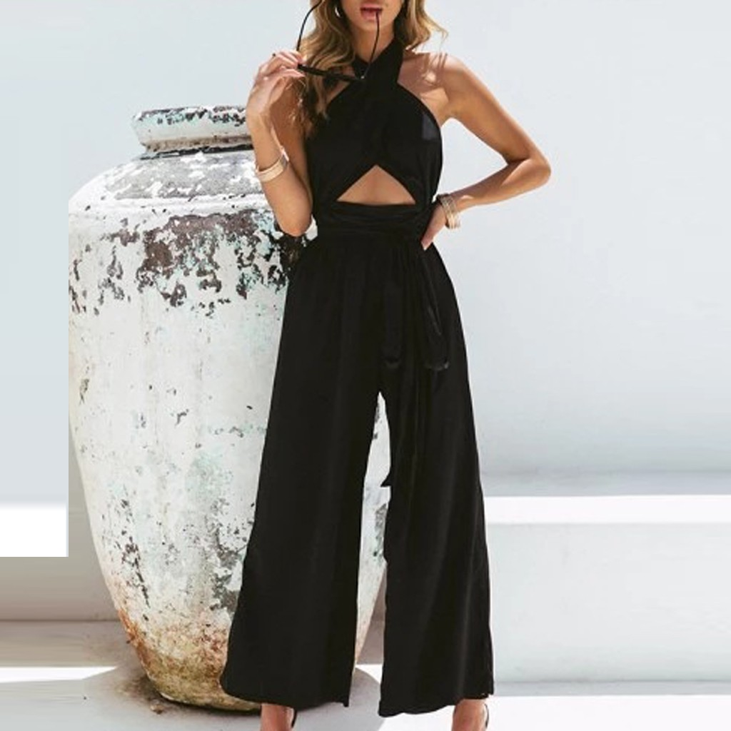 Fashion Women Summer Office Street Holiday Wide Leg Pants Long Jumpsuit Backless Hollow Out Casual Party Strappy Playsuit