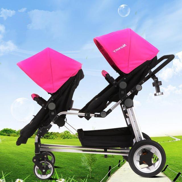 Moda Bebês Gêmeos Carrinhos Seguro Pneu Vácuo Super Amortecedores Carrinho de Bebê de Alta Paisagem Crianças Carrinho de 30 cm