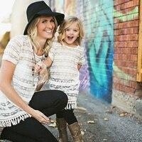 2017 Mẹ Con Gái Dresses Trắng Ren Phù Hợp Với Mẹ Con Gái Quần Áo Váy Mẹ và Con Gái Ăn Mặc Gia Đình Quần Áo với Vest