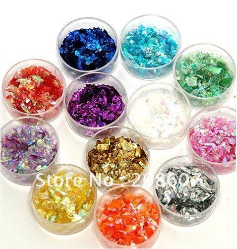 Free Shipping 12 Colors/set Luxury Opal Glitter /Crushed Shell Stone For Nail Art UV Gel Acrylic