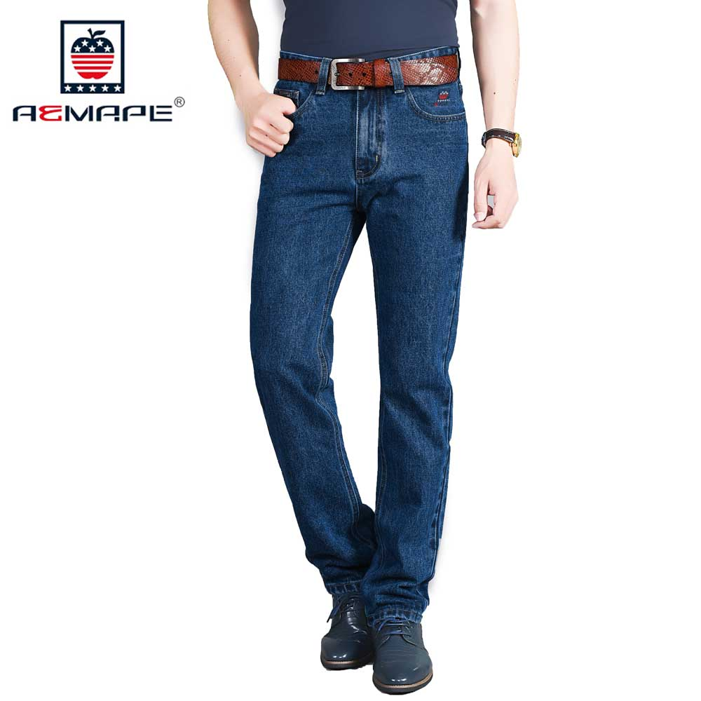AEMAPE Men's Regular Fit Straight Jeans Classic Brand Men Denim Pants Cowboy Trousers Size 29-42 all seasons famous brand jeans men straight denim classic blue jeans pants regular fit high quality plus size 28 to 40 sulee