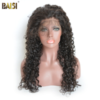 BAISI Brazilian Hair Wigs Deep Wave Full Lace Wigs Remy Hair with Pre Plucked nature hairline 130% density