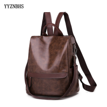 Women Leather Backpacks Vintage Female Shoulder Bag Sac a Dos Travel Backpack Ladies Bagpack Mochilas School Bags For Girls 2019 fashion women bag nylon backpack men travel bags retro school bags for teenagers laptop bag mchila mochilas sac a dos backpacks