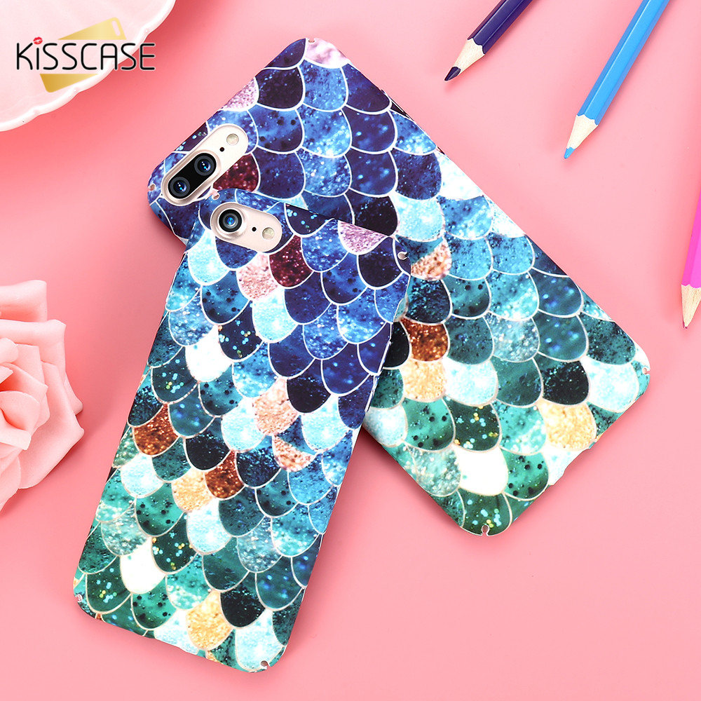 KISSCASE 3D Scales Hard Plastic Case For iPhone 6 7 6S Plus 5S SE Mermaid Squama Pink Green Back Cover For Apple iPhone 6 6S 5S