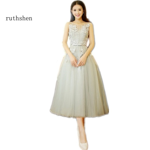 ruthshen Robe Bal De Promo Short Prom Dresses Tea Length Gray Tulle ...