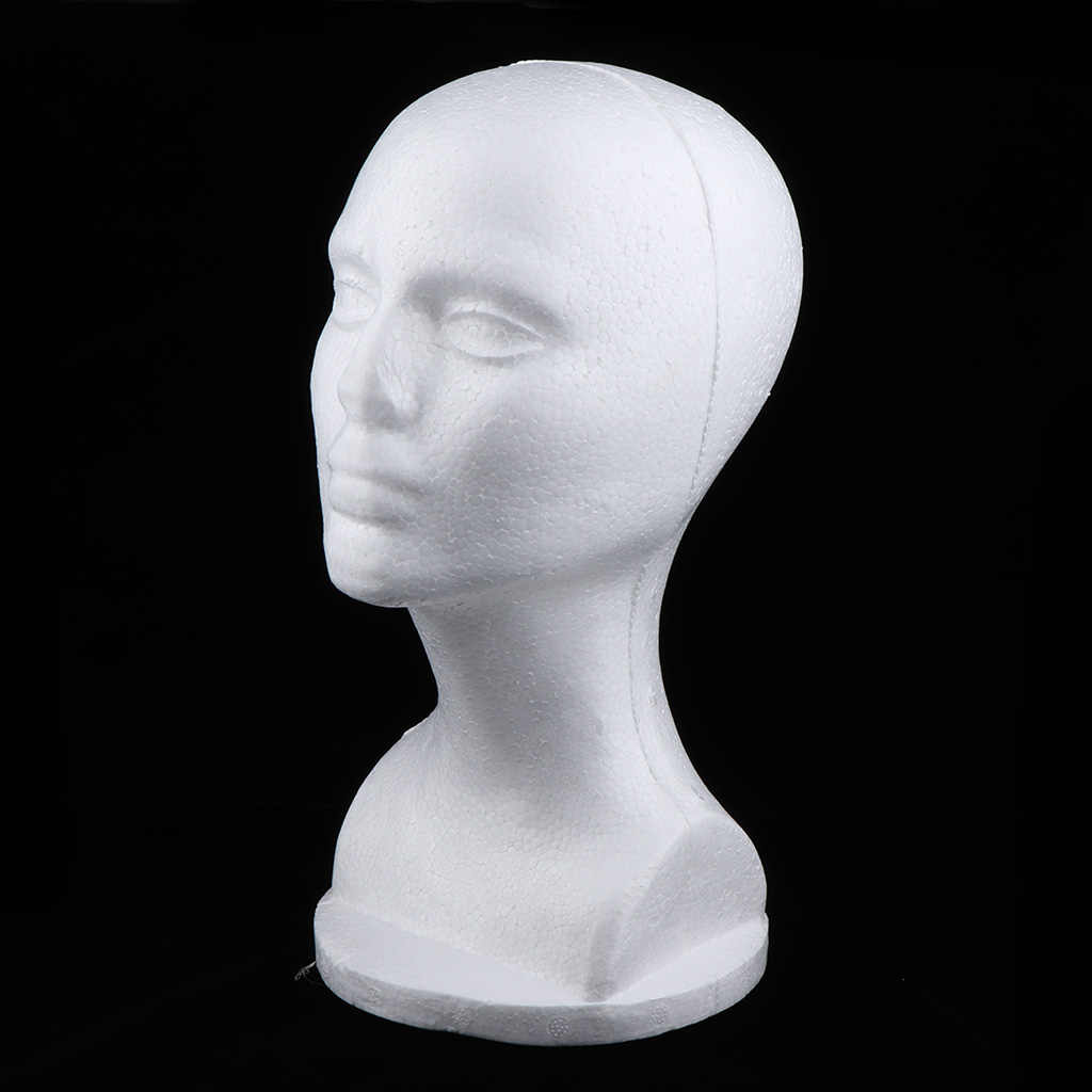 Female Styrofoam Mannequin Head Model - Wig/Hat Display Stand - Art Work Painting Novelty - Foam White