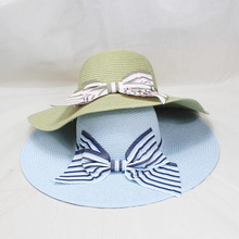 New Fashion Straw Hat Female Wide Brim Sun Ladies Solid  Ribbon Bow Floppy Beach Women Packable Summer