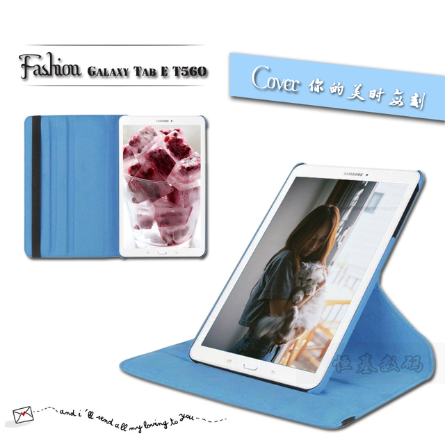 New Products Luxury 360 Rotating Flip Leather Stand Case Cover Tablet Case for Samsung Galaxy Tab E T560 T561 case Free shipping
