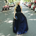 Black Royal Blue Long Tulle Skirt Dot Tulle Women A-Line Skirt Satin Lining Long Skirt Free Shipping